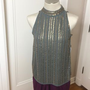 NWT Angie green top with gold beads